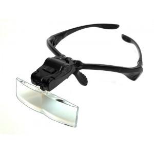 Лупа-очки 1x, 1.5х, 2х, 2.5х, 3.5х с набором линз и подсветкой