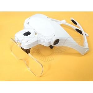 Лупа-очки с подсветкой, сменными линзами 1,0х; 1,5х; 2.0х; 2,5х; 3,5х, f=55,5 см-15,6 см