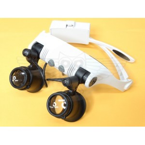 Лупа-очки с подсветкой и набором линз 10х, 15х,20х, 25х