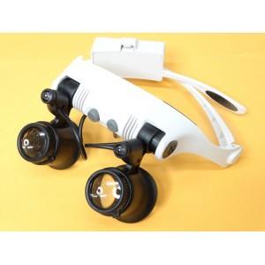 Лупа-очки с увеличением  10х,15х,20х,25х, с подсветкой и набором линз в кейсе
