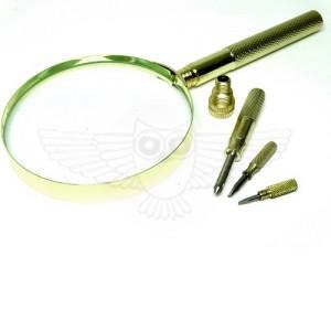 Лупа просмотровая 3х d=90 мм, с отвертками