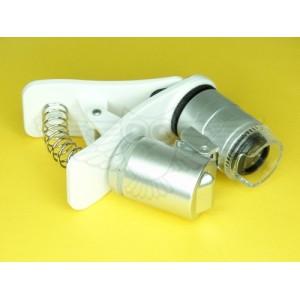 Лупа-микроскоп 60х, компактная с прищепкой на телефон