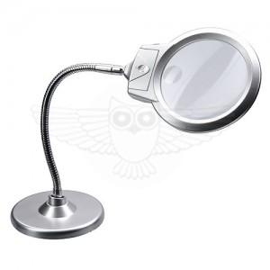 Лупа настольная на круглой подставке  2,25х d=103 мм,5х d=25 подсветка, с ободом