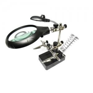 Лупа для пайки 2,5х d=110 мм, 7,5х d=34 мм, 10х d=34, с подсветкой