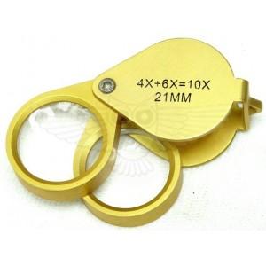 Лупа ювелирная 4х, 6х, 10х d=21 мм, двойная, Золото